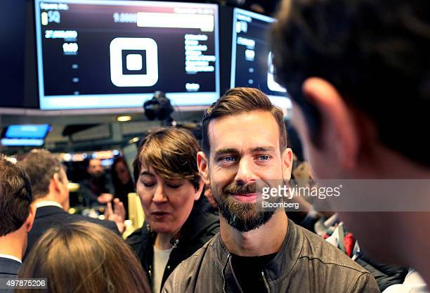 Jack Dorsey chief executive officer of Square Inc second right tours the floor of the New York Stock Exchange in New York US on Thursday Nov 19 2015...