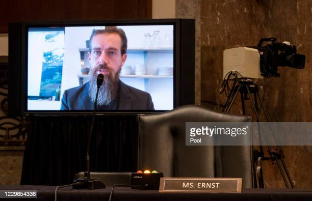 """Jack Dorsey, Chief Executive Officer of Twitter, testifies remotely during the Senate Judiciary Committee hearing on """"Breaking the News: Censorship,..."""