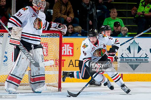 Jack Dougherty of Portland Winterhawks skates with the puck against the Kelowna Rockets on December 5 2015 at Prospera Place in Kelowna British...