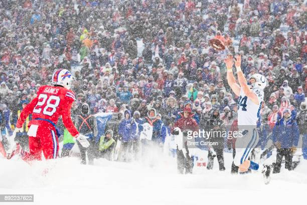 Jack Doyle of the Indianapolis Colts catches a pass for a two point conversion against the Buffalo Bills that was then called back due to pass...