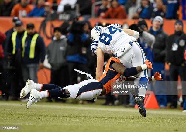 Jack Doyle of the Indianapolis Colts is tackled by Von Miller of the Denver Broncos The Denver Broncos played the Indianapolis Colts in an AFC...