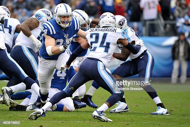 Jack Doyle of the Indianapolis Colts plays against the Tennessee Titans at LP Field on December 28 2014 in Nashville Tennessee