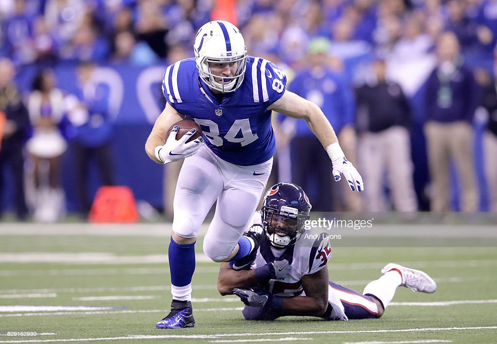 Jack Doyle #84 of the Indianapolis Colts runs with the ball during the game against the Houston Texans at Lucas Oil Stadium on December 11, 2016 in Indianapolis, Indiana.