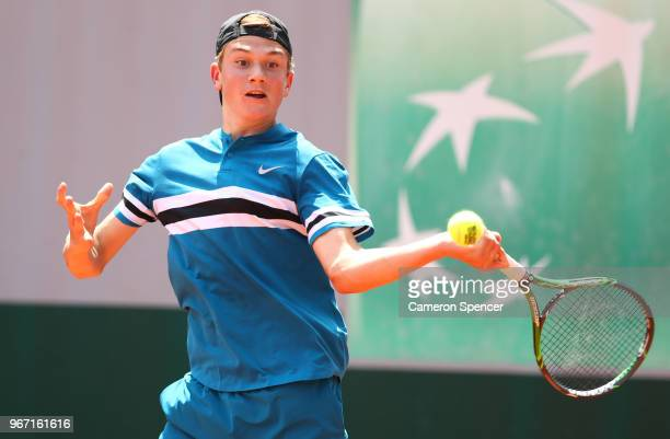Jack Draper of Great Britain competes in the boys singles first round match against Nicolas Alvarez Varona of Spain during day nine of the 2018...