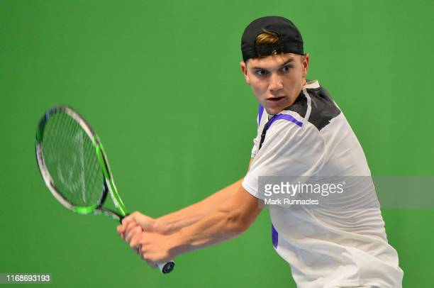 Jack Draper of Great Britain in action against Altug Celikbilek of Turkey during day one of The Murray Trophy at Scotstoun Leisure Centre on...