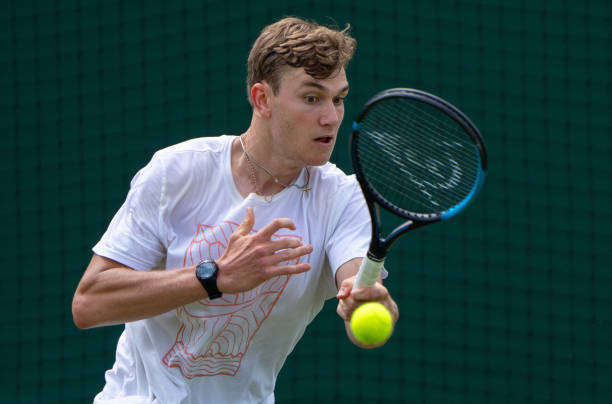 Jack Draper of Great Britain practices ahead of The Championships - Wimbledon 2021 at All England Lawn Tennis and Croquet Club on June 25, 2021 in...
