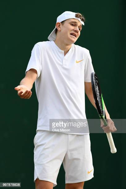 Jack Draper of Great Britain reacts during his Boy's Singles semifinal match against Nicolas Mejia of Colombia on day eleven of the Wimbledon Lawn...