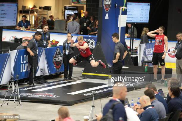 Jack Drury completes the long jump test during the NHL Scouting Combine on June 2 2018 at HarborCenter in Buffalo New York