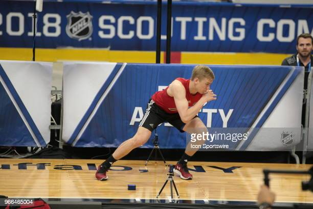 Jack Drury completes the pro agility test during the NHL Scouting Combine on June 2 2018 at HarborCenter in Buffalo New York