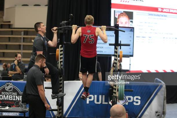 Jack Drury completes the pull ups test during the NHL Scouting Combine on June 2 2018 at HarborCenter in Buffalo New York