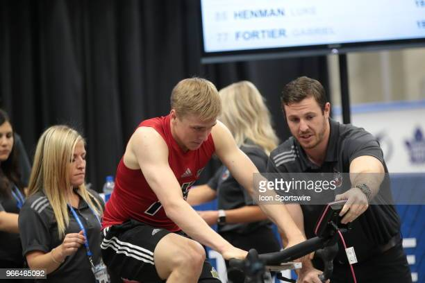 Jack Drury completes the Wingate cycle test during the NHL Scouting Combine on June 2 2018 at HarborCenter in Buffalo New York