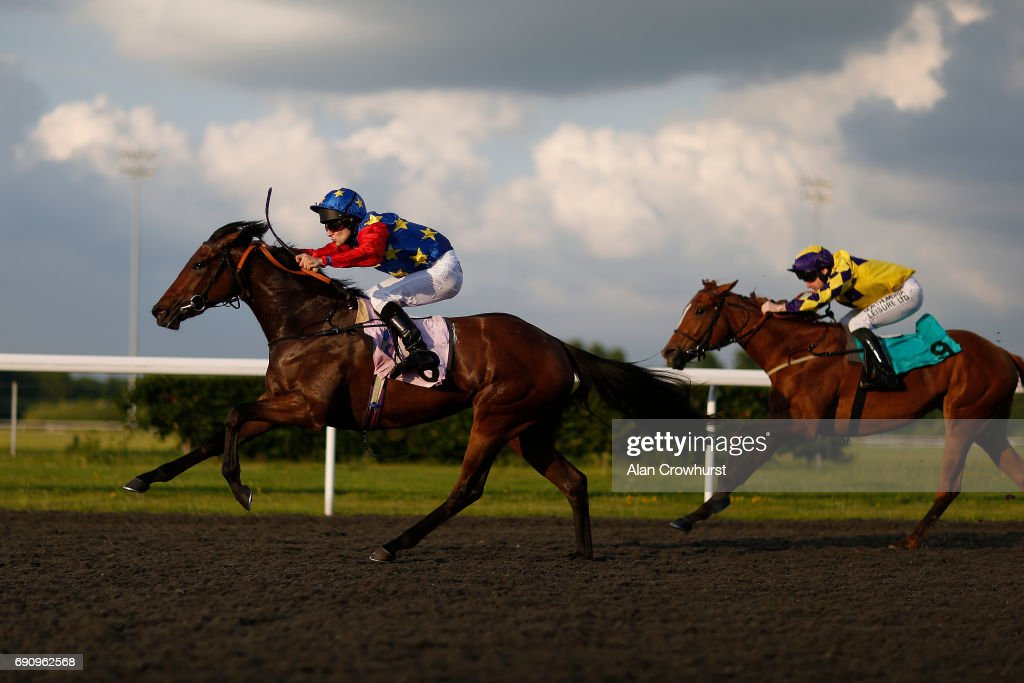 Jack Duern riding Electric Landlady win The Follow @racing_uk On Twitter Filliesâ Novice Auction Stakes at Kempton racecourse on May 31, 2017 in Sunbury, England.