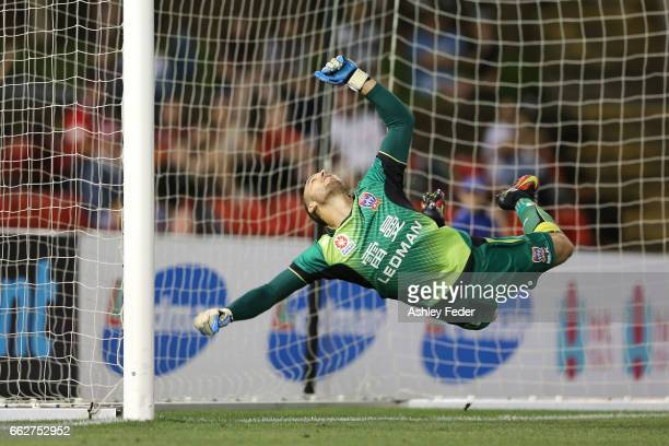 Jack Duncan of the Jets attempts to save a goal during the round 25 ALeague match between the Newcastle Jets and the Western Sydney Wanderers at...