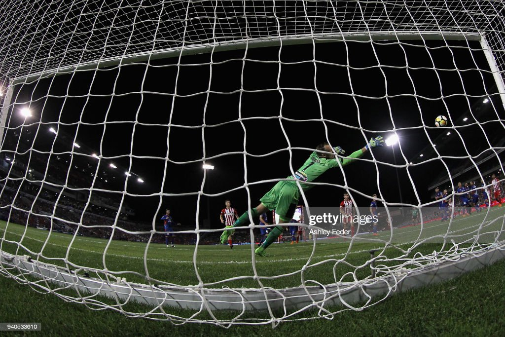 Jack Duncan of the Jets concedes a goal during the round 25 A-League match between the Newcastle Jets and Melbourne City at McDonald Jones Stadium on April 1, 2018 in Newcastle, Australia.