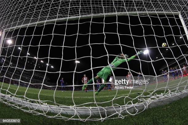 Jack Duncan of the Jets concedes a goal during the round 25 ALeague match between the Newcastle Jets and Melbourne City at McDonald Jones Stadium on...