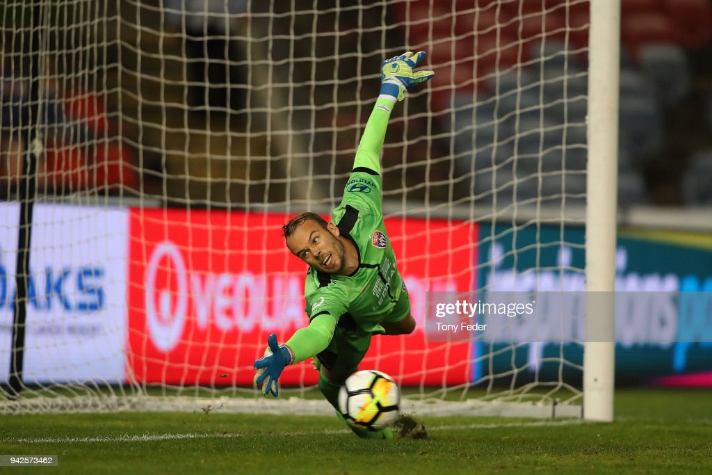 Jack Duncan of the Jets fails to stop a penalty during the round 26 A-League match between the Newcastle Jets and the Perth Glory at McDonald Jones Stadium on April 6, 2018 in Newcastle, Australia.