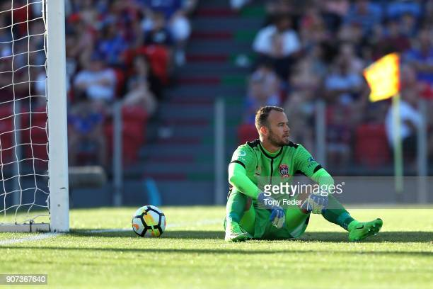 Jack Duncan of the Jets looks dejected after letting in a goal during the round 17 ALeague match between the Newcastle Jets and Wellington Phoenix at...