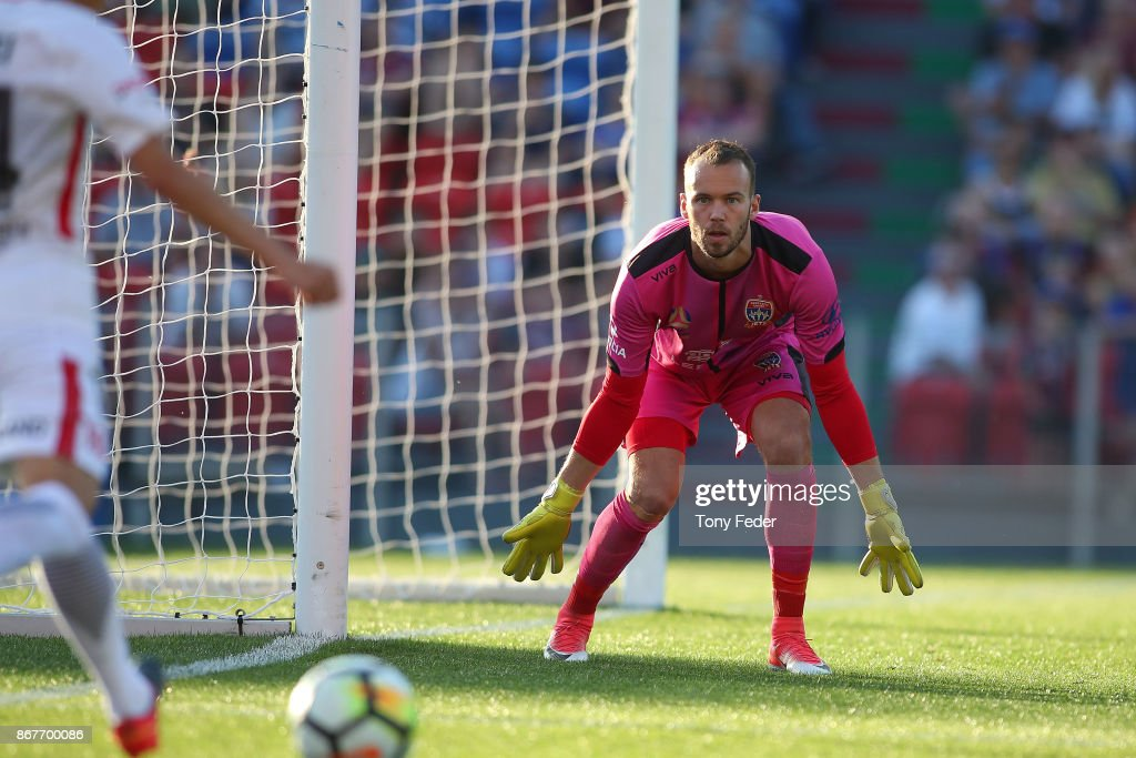 Jack Duncan of the Jets waits for a shot at goal during the round four A-League match between the Newcastle Jets and the Western Sydney Wanderers at McDonald Jones Stadium on October 29, 2017 in Newcastle, Australia.