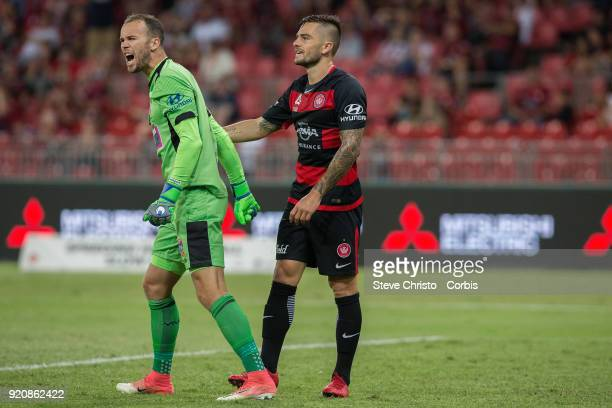Jack Duncan of the Jets yells at teammates after a close call with Wanderers Josh Risdon during the round one ALeague match between the Western...