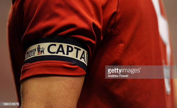 Jack Dunn of Liverpool captain's arm band during the FA Youth Cup Semifinal 1st Leg between Liverpool FC and Chelsea FC at Anfield on April 12 2013...