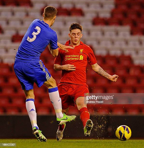 Jack Dunn of Liverpool competes with Alex Davey of Chelsea during the FA Youth Cup Semifinal 1st Leg between Liverpool FC and Chelsea FC at Anfield...