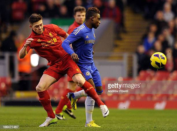 Jack Dunn of Liverpool competes with Islam Feruz of Chelsea during the FA Youth Cup Semifinal 1st Leg between Liverpool FC and Chelsea FC at Anfield...