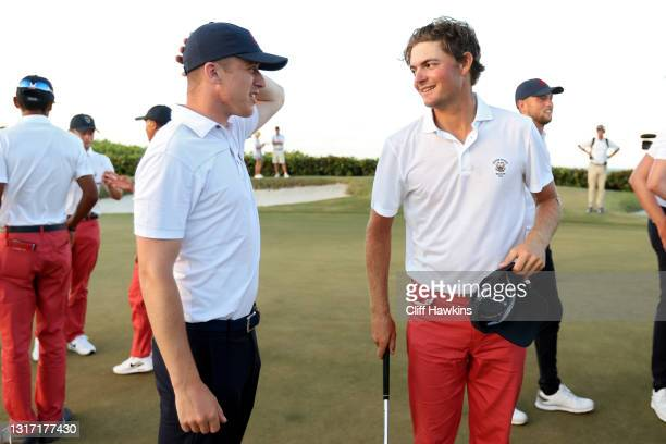 Jack Dyer of Team Great Britain and Ireland meets with Tyler Strafaci of Team USA after Dyer won their match during Sunday singles matches on Day Two...