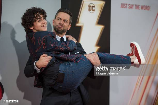 """Jack Dylan Grazer and Zachary Levi arrive at Warner Bros. Pictures and New Line Cinema's world premiere of """"SHAZAM!"""" at TCL Chinese Theatre on March..."""