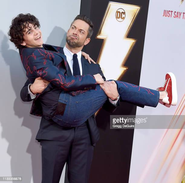 "Jack Dylan Grazer and Zachary Levi attend Warner Bros. Pictures And New Line Cinema's World Premiere Of ""SHAZAM!"" at TCL Chinese Theatre on March 28,..."