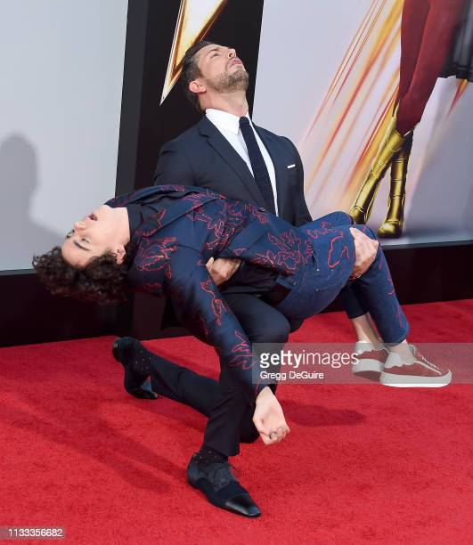 """Jack Dylan Grazer and Zachary Levi attend Warner Bros. Pictures And New Line Cinema's World Premiere Of """"SHAZAM!"""" at TCL Chinese Theatre on March 28,..."""