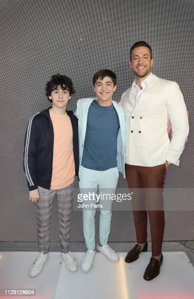 "Jack Dylan Grazer, Asher Angel and Zachary Levi arrive at Miami Red Carpet Screening of ""SHAZAM!"" on March 7, 2019 in Miami, Florida."