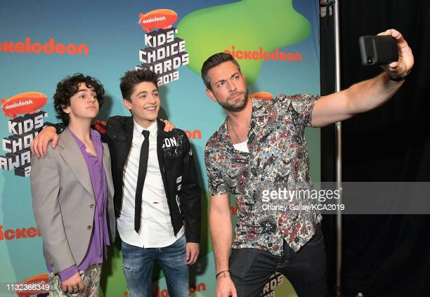 Jack Dylan Grazer, Asher Angel and Zachary Levi attend Nickelodeon's 2019 Kids' Choice Awards at Galen Center on March 23, 2019 in Los Angeles,...