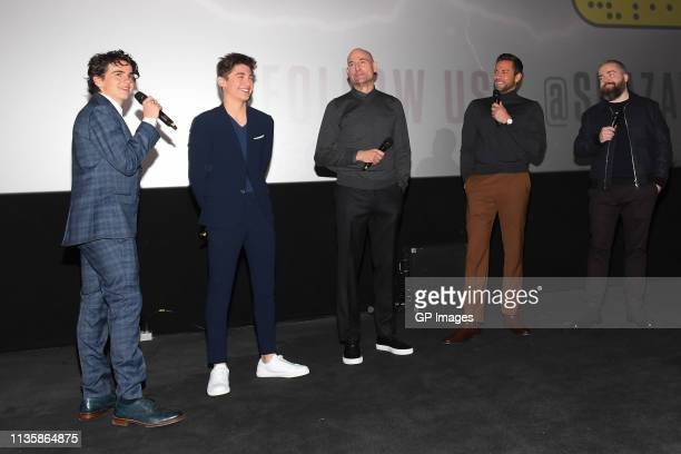 Jack Dylan Grazer, Asher Angel, Mark Strong, Zachary Levi and Director David F. Sandberg attend the Shazam! Toronto's xoTO Neighbourhood Giveback...