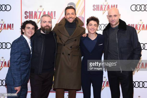 Jack Dylan Grazer Director David F Sandberg Zachary Levi Asher Angel and Mark Strong attend the unveiling of the Shazam World Exclusive Fan...