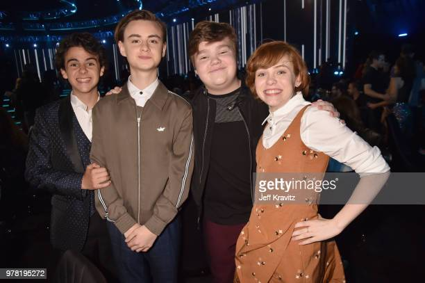Jack Dylan Grazer Jaeden Lieberher Jeremy Ray Taylor and Sophia Lillis attend the 2018 MTV Movie And TV Awards at Barker Hangar on June 16 2018 in...