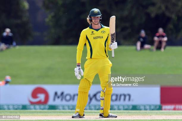 Jack Edwards of Australia celebrates his half century during the ICC U19 Cricket World Cup Semi Final match between Australia and Afghanistan at...