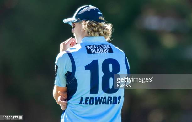 Jack Edwards of NSW looks on during the 2021 Marsh One Day Cup Final match between New South Wales and Western Australia at Bankstown Oval on April...