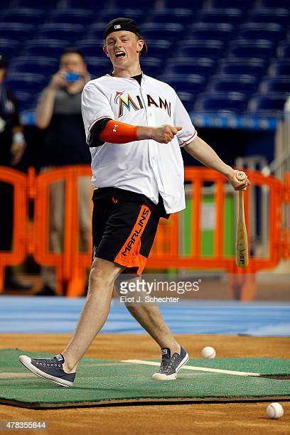 Jack Eichel a 2015 NHL Top Draft Prospect steps in for batting practice during the Media Tour at Marlins Park on June 24 2015 in Miami Florida