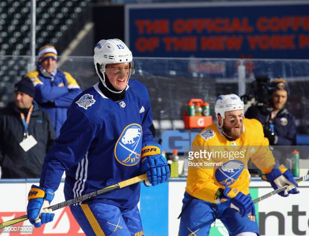 Jack Eichel and Ryan O'Reilly of the Buffalo Sabres practice at Citi Field on December 31 2017 in the Flushing neighborhood of the Queens borough of...