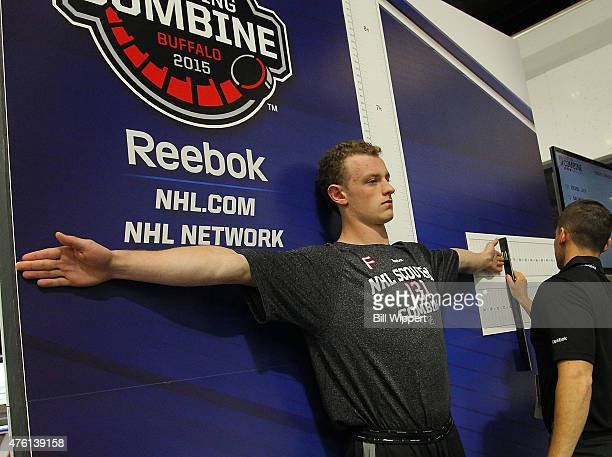 Jack Eichel is measured during the NHL Combine at HarborCenter on June 6 2015 in Buffalo New York
