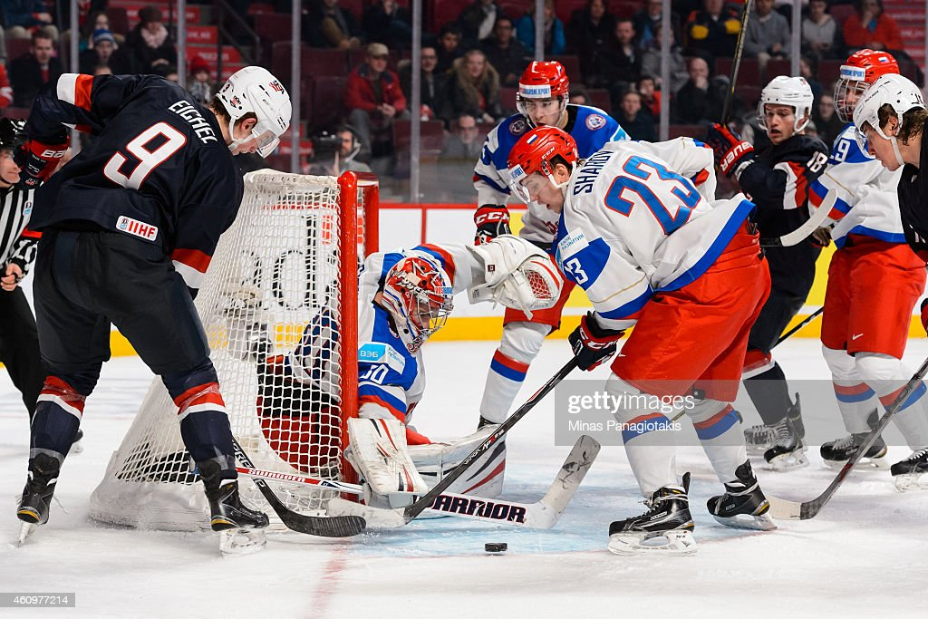 Jack Eichel #9 of Team United States is stopped by goaltender Igor Shesterkin #30 of Team Russia in a quarterfinal round during the 2015 IIHF World Junior Hockey Championships at the Bell Centre on January 2, 2015 in Montreal, Quebec, Canada. Team Russia defeated Team United States 3-2.
