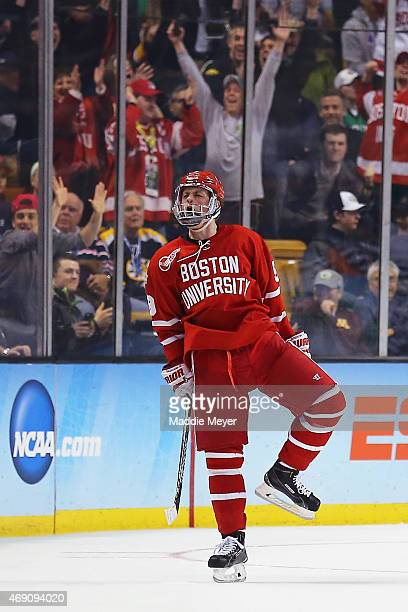 Jack Eichel of the Boston Terriers celebrates after scoring a goal against North Dakota during the first period of the 2015 NCAA Division I Men's...