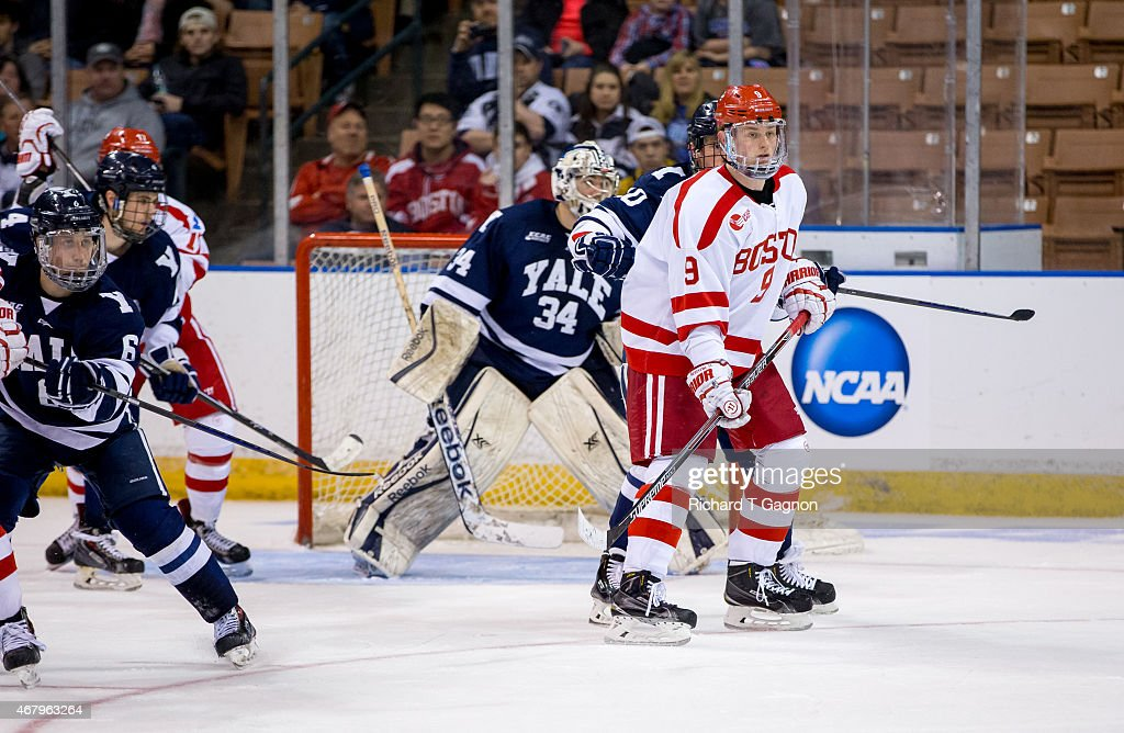 Jack Eichel #9 of the Boston University Terriers skates against the Yale Bulldogs during the NCAA Division I Men's Ice Hockey Northeast Regional Championship Semifinal at the Verizon Wireless Arena on March 27, 2015 in Manchester, New Hampshire. The Terriers won 3-2 in overtime.