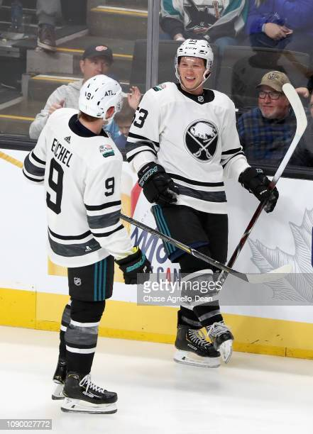 Jack Eichel of the Buffalo Sabres and Jeff Skinner of the Buffalo Sabres celebrate during the 2019 Honda NHL AllStar Game at SAP Center on January 26...