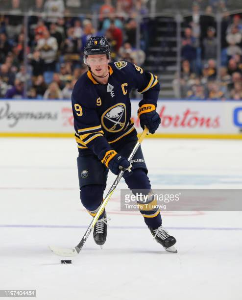 Jack Eichel of the Buffalo Sabres carries the puck against the Edmonton Oilers at KeyBank Center on January 2 2020 in Buffalo New York Buffalo beats...