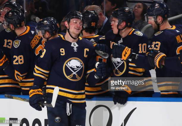 Jack Eichel of the Buffalo Sabres celebrates a goal during an NHL game against the Washington Capitals on March 9 2020 at KeyBank Center in Buffalo...