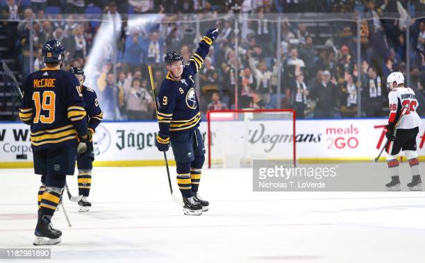 Jack Eichel of the Buffalo Sabres celebrates after his fourth goal of the game an empty net goal sealed a 42 win over the Ottawa Senators during the...