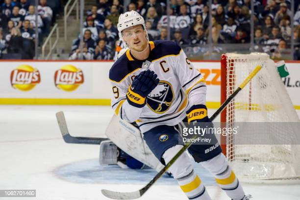 Jack Eichel of the Buffalo Sabres celebrates after scoring a shootout goal against the Winnipeg Jets at the Bell MTS Place on November 16 2018 in...