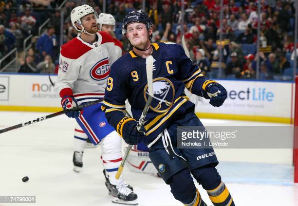 Jack Eichel of the Buffalo Sabres celebrates after scoring his second goal of the game against the Montreal Canadiens during the second period of...