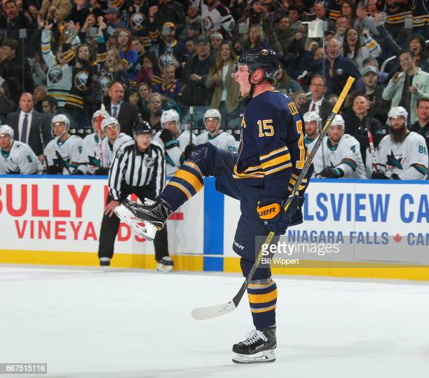 Jack Eichel of the Buffalo Sabres celebrates an apparent goal that was later overturned during an NHL game on October 28 2017 at KeyBank Center in...